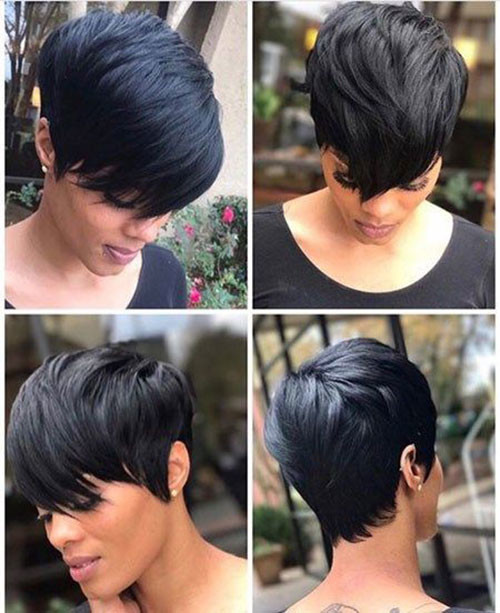 Short-Pixie-Black-Hairstyle Sweet and Sexy Pixie Hairstyles for Women