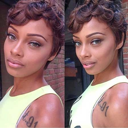 Short-Pixie-Curly-Hairstyle Black Hair Short Cuts 2019