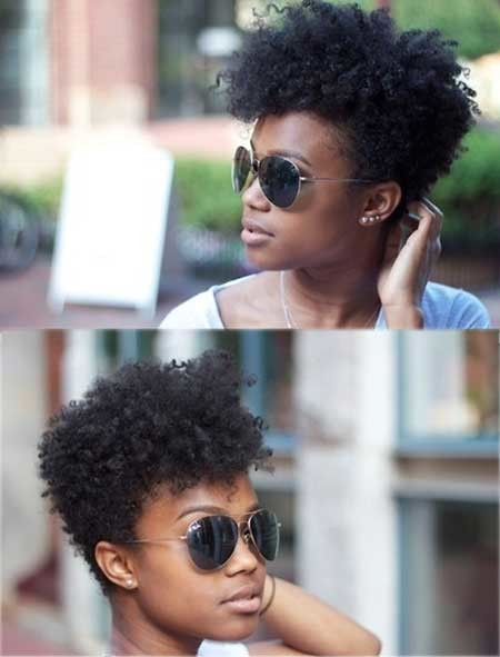 Short-Voluminous-Tight-Curls Hairstyles for Black Women with Short Hair