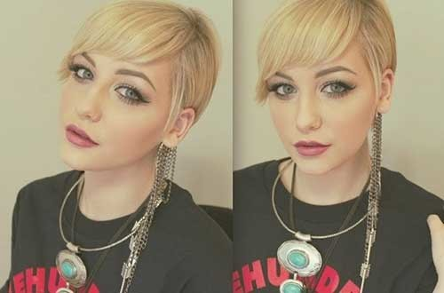 Straight-Blonde-Pixie-Bangs-Short-Hair Nice Short Straight Hairstyles with Bangs
