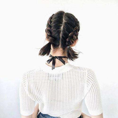 Two-French-Braids-Short-Hair-2 Best French Braid Short Hair Ideas 2019