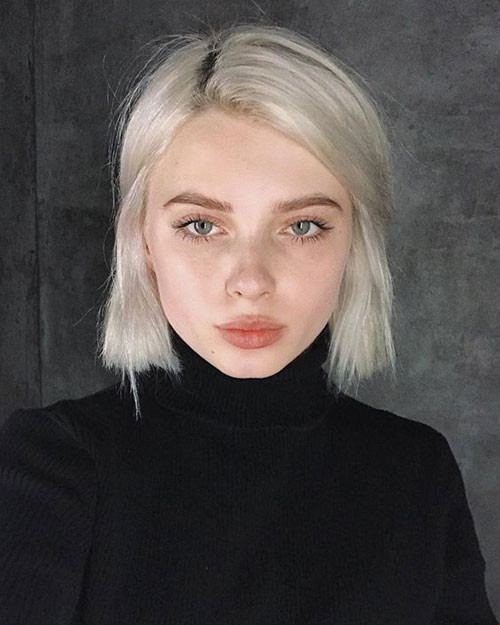 White-Blonde-Hair-Color Trendy Hair Colors for Short Hair for Ladies