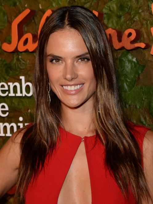 2014-Alessandra-Ambrosio-Hairstyles-Center-Part-Hairstyle-for-Straight-Hair Top 100 Celebrity Hairstyles 2019