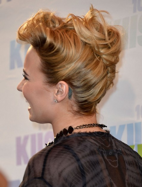 2014-Demi-Lovato-Hairstyles-French-Twist-Updo Top 100 Celebrity Hairstyles 2019