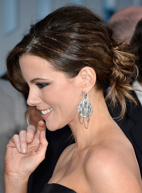 2014-Kate-Beckinsale-Hairstyles-–-Messy-Bun-Updos Top 100 Celebrity Hairstyles 2019