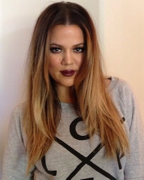 2014-Khloe-Kardashian-Hairstyles-Center-Part-Hairstyle-for-Long-Hair Top 100 Celebrity Hairstyles 2019
