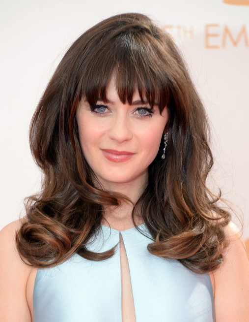 2014-Zooey-Deschanel-Hairstyles-–-Long-Hairstyle-with-Bangs Top 100 Celebrity Hairstyles 2019