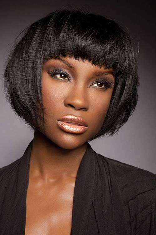 African-American-Blunt-Bob-Hairstyle Short Bob Haircuts for Black Women