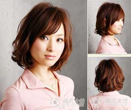 Asian-Cute-Short-Bob-Haircut-with-Side-angs Short Wavy Hairstyles With Bangs