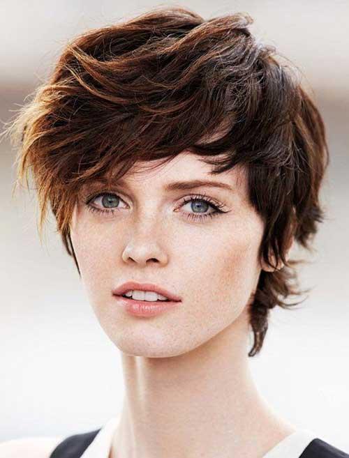 Best-Wavy-Brown-Pixie-Cut Best Short Brown Haircuts 2019