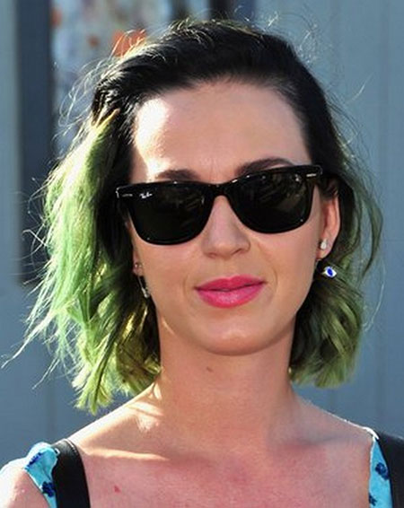 Black-Curly-Hair-with-Green-Colored-Ends Short Haircuts and Color Ideas