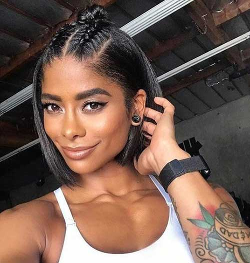 Braided-Short-Hairstyle Easy Short Hairstyles for Black Women 2019
