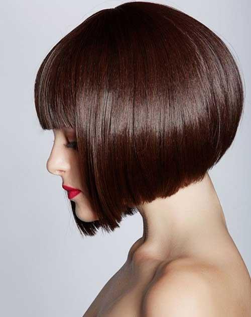 Brown-Blunt-Bob-with-Bangs Best Short Brown Haircuts 2019