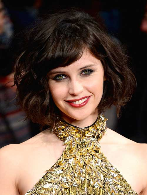 Brunette-Curly-Bob-with-Bangs Brunette Bob Hairstyles 2019