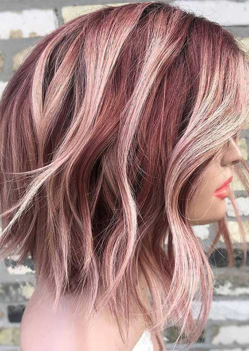 Burgundy-and-Rose-Gold-Hair-Color Latest Trend Hair Color Ideas for Short Hair