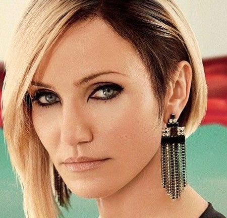 Cameron-Diaz's-Elegant-and-Alluring-Asymmetric-Bob-Hair Best Bob Hairstyles 2019