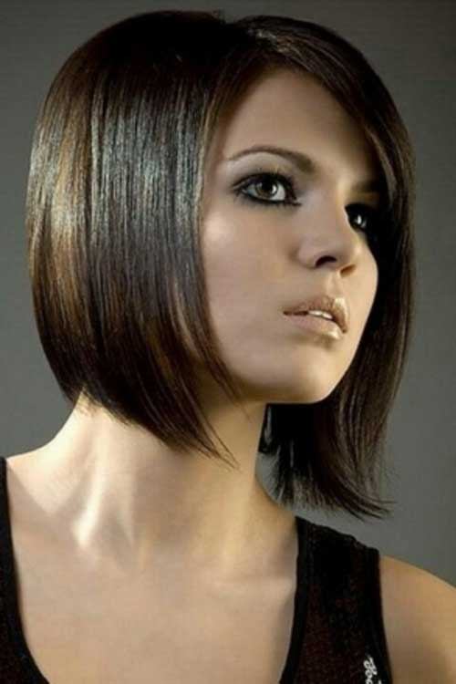 Chic-Brunette-A-Line-Bob-Hairstyle Brunette Bob Hairstyles 2019