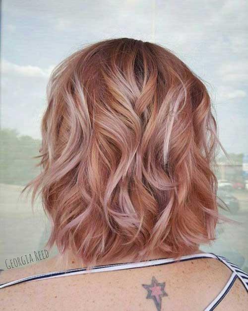 Cute-Rose-Gold-Hair-Color Latest Trend Hair Color Ideas for Short Hair