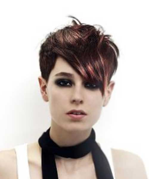 Dark-Brown-Punky-Emo-Short-Hair Best Punky Short Haircuts
