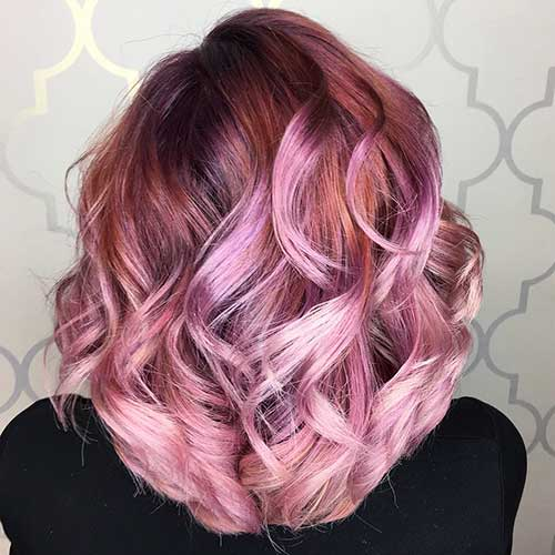 Deep-Pink-to-Dusty-Rose Alluring Short Curly Hair Ideas for Summertime