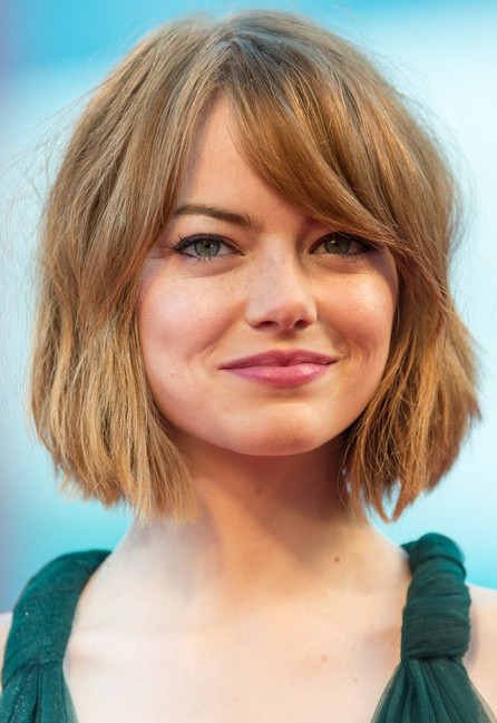 Emma-Stone-Short-Bob-Haircut-with-Bangs-for-Women Popular Short Hairstyles for Women 2019