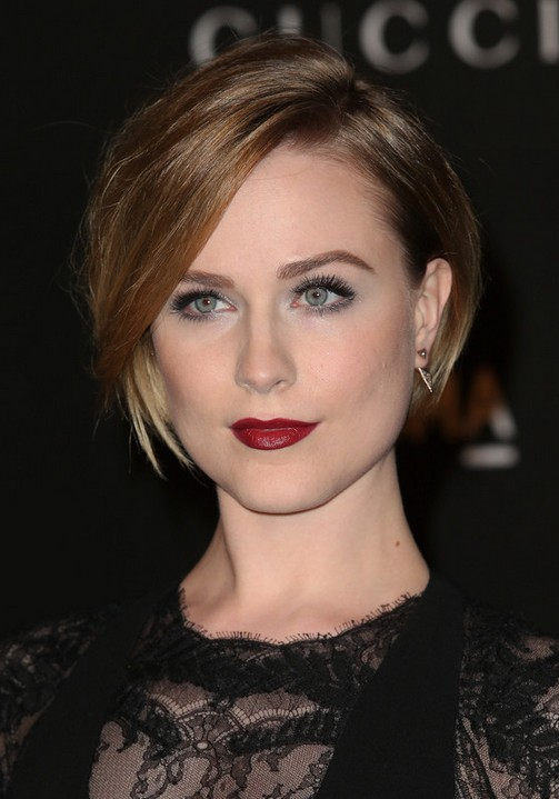 Evan-Rachel-Wood-Latest-Short-Straight-Bob-Haircut-with-Side-Swept-Bangs Popular Short Hairstyles for Women 2019