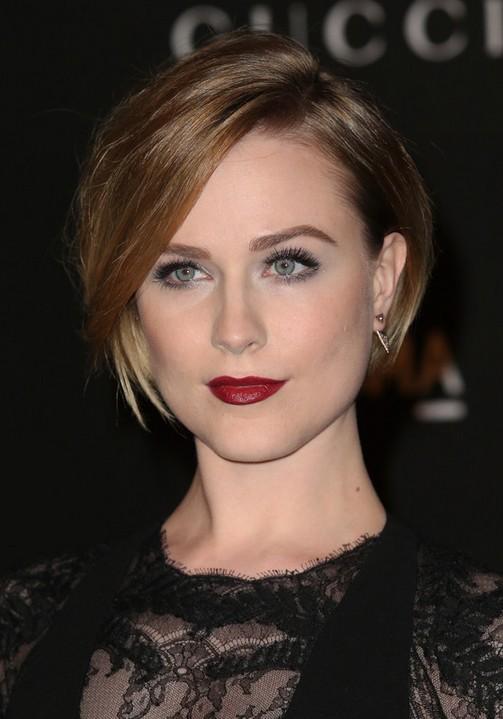 Evan-Rachel-Wood-Latest-Short-Straight-Bob-Haircut-with-Side-Swept-Bangs Popular Short Hairstyles for Women 2019
