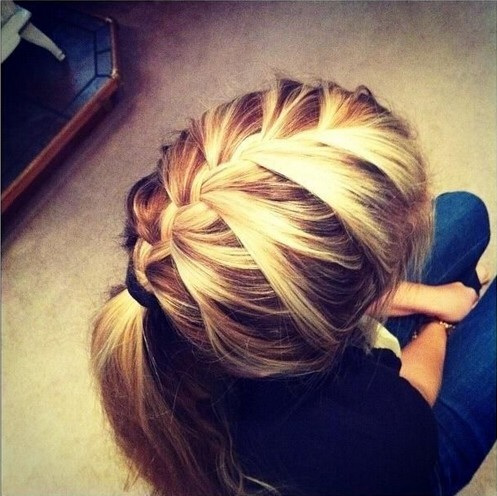 French-Braid-Ponytail Cute French Braid Hairstyles for Girls