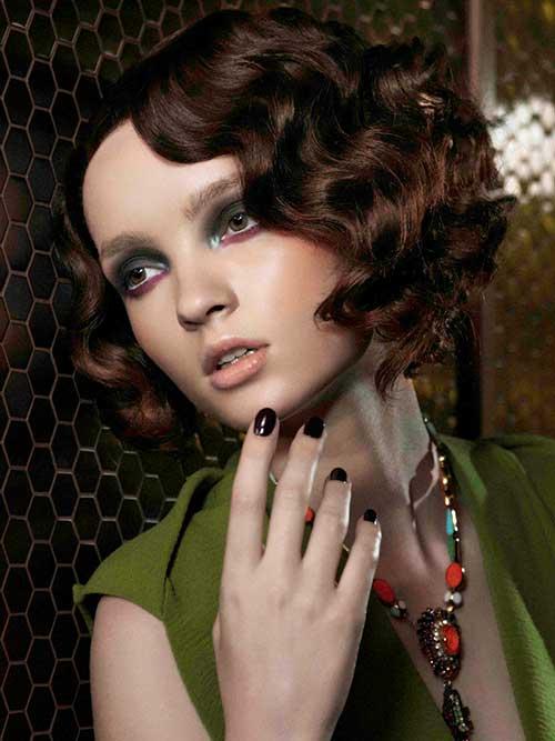 Futuristic-Brunette-Curly-Bob Brunette Bob Hairstyles 2019