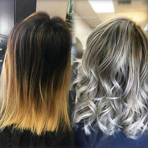 Icy-Blonde-on-Lob Alluring Short Curly Hair Ideas for Summertime