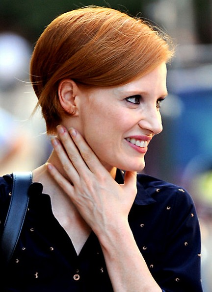 Jessica-Chastain-Short-Bob-Hairstyle-with-Bright-Color Popular Short Hairstyles for Women 2019