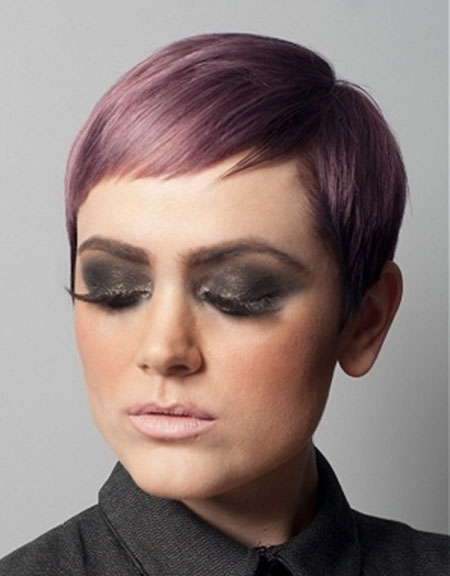 Lavender-Colored-Short-Pixie-Haircut Short Haircuts and Color Ideas