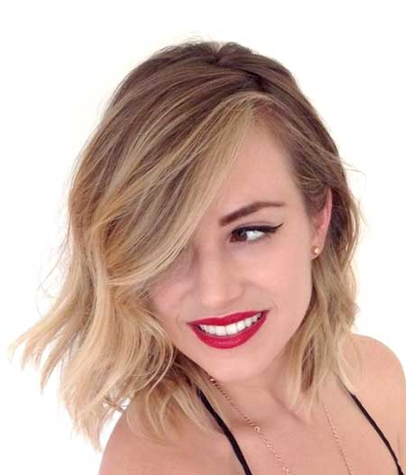 Long-Layered-Wavy-Asymmetrical-Hairstyle-for-Girls Short Wavy Hairstyles 2019