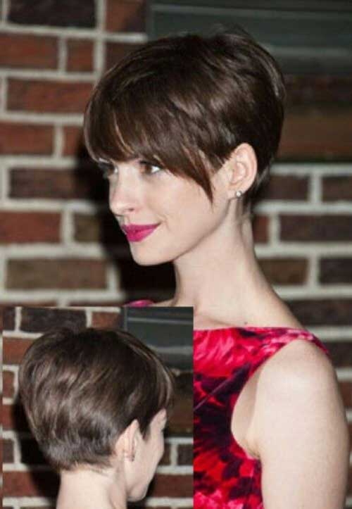 Nice-Short-Brown-Haircut-with-Long-Bangs Best Short Brown Haircuts 2019