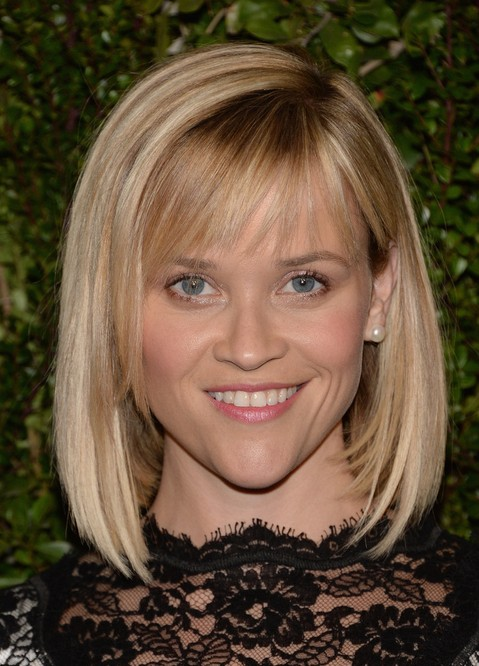 Reese-Witherspoon-Short-Blunt-Bob-Haircut-with-Bangs-for-Women Popular Short Hairstyles for Women 2019