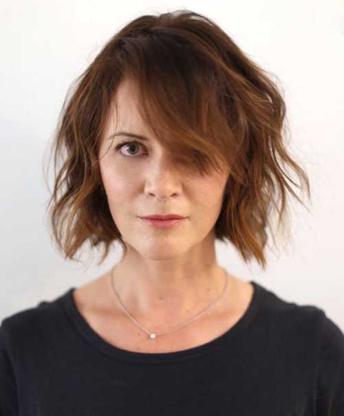Shaggy-Bob-Cut Short Haircuts for Round Face Shape