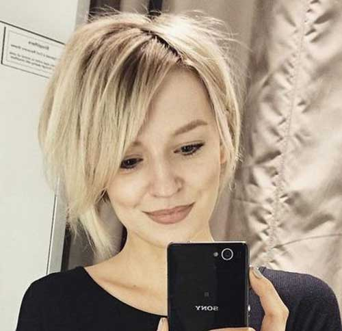 Short-Cropped-Blonde-Hair Short Haircuts for Round Face Shape