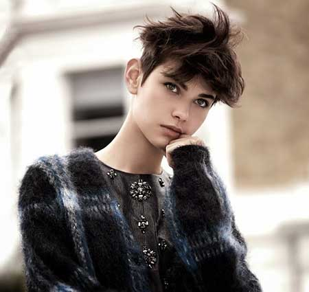 Short-Messy-Brown-Pixie Short Trendy Hairstyles for Women