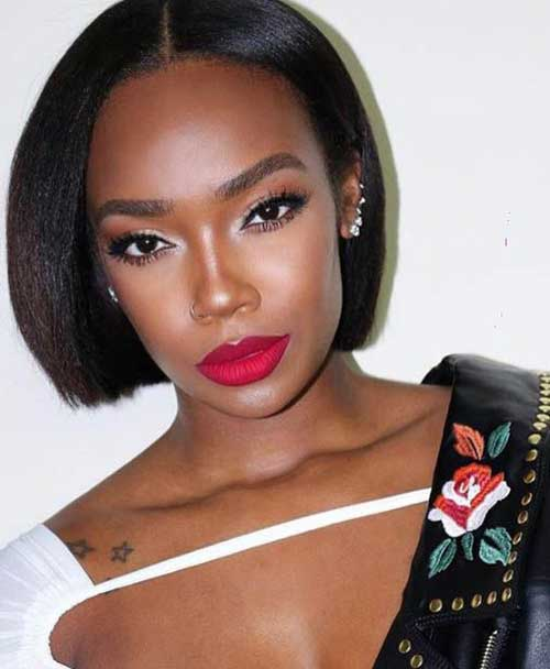 Short-Middle-Part-Bob Latest Short Natural Hairstyles for Black Women
