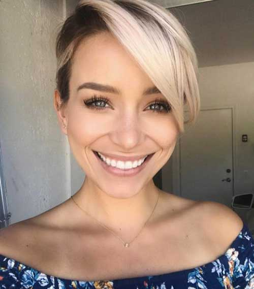 Short-Side-Long-Pixie Short Haircuts for Round Face Shape