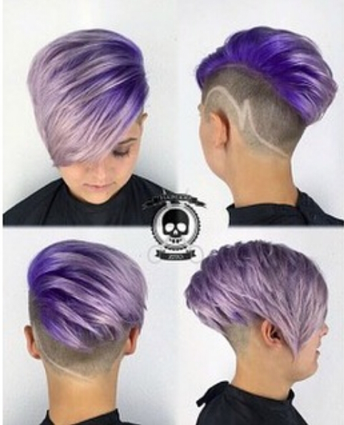 Short-Undercut-Hairstyle-for-Purple-Hair Awesome Undercut Hairstyles for Girls