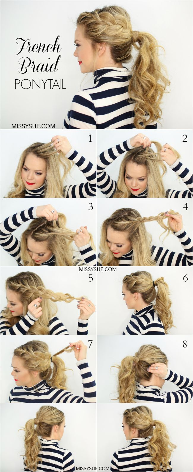 Side-French-Braid-Ponytail-Hairstyle-Tutorial Cute French Braid Hairstyles for Girls