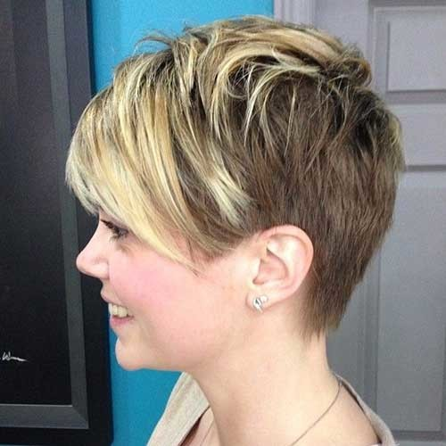 Side-View-of-Layered-Short-Hairdo-with-Bangs Best Pixie Haircuts