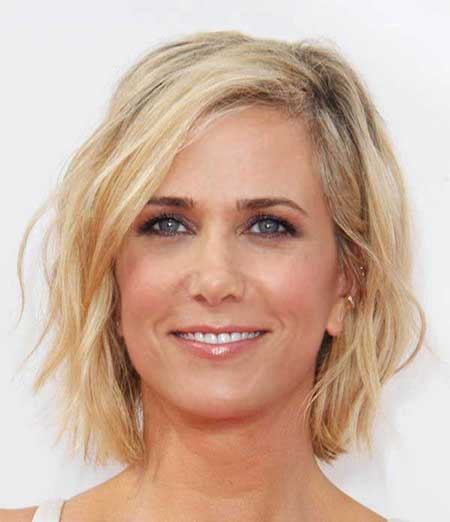 Simple-Blonde-Colored-Shoulder-Wavy-Hairstyle Short Wavy Hairstyles 2019
