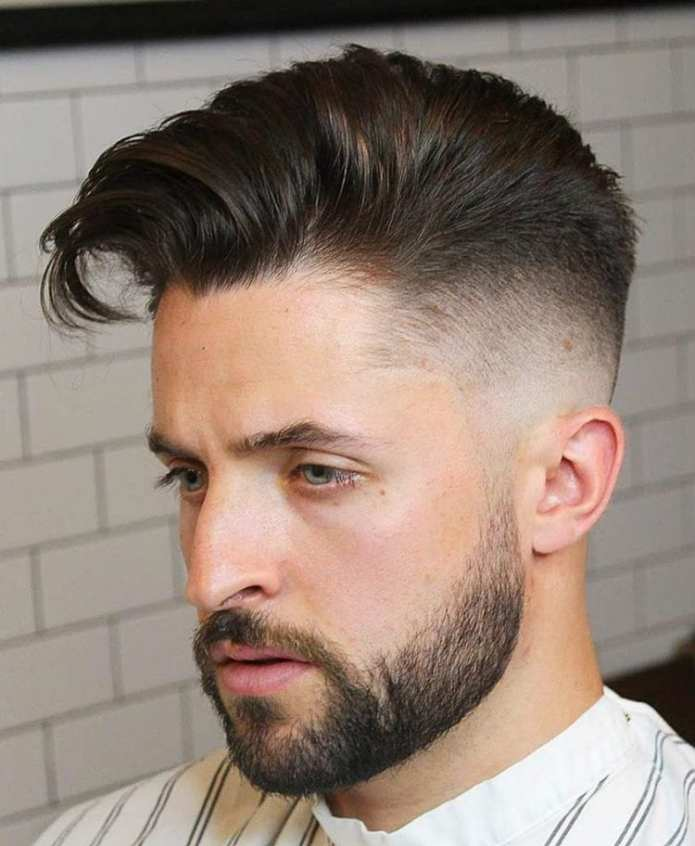Taper-fade-short-beard-side-swept Stylish Undercut Hairstyle Variations For 2019