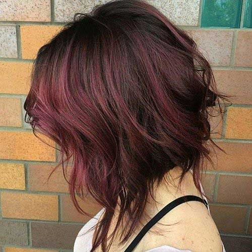 Wavy-Dark-Red-Bob-Hair-Style Best Wavy Bob Hairstyles