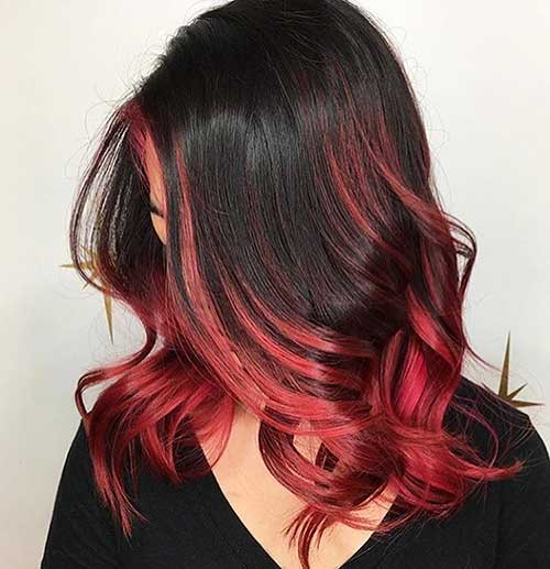 Wine-Red-Balayage-on-Long-Bob Eye-Catching Short Red Hair Ideas to Try