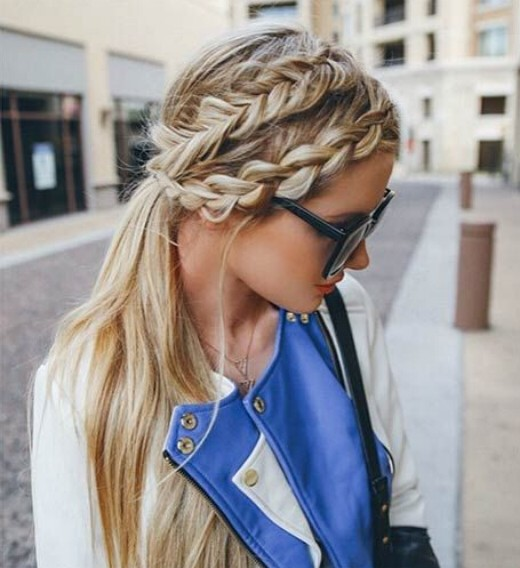 ow-ponytail-Hairstyle-with-Braided-Bangs Cute French Braid Hairstyles for Girls