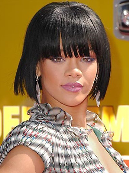 rihanna-short-hair-with-bangs Very Short Haircuts with Bangs for Women