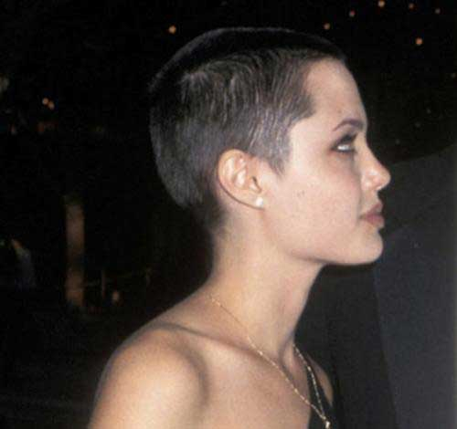 Angelina-Jolie's-Short-Shaved-Hairstyle Female Celebrity Short Haircuts 2015